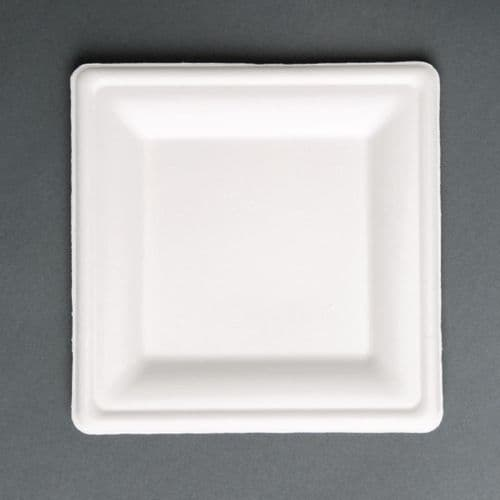 FC519 Fiesta Green Compostable Bagasse Square Plates 204mm (Pack of 50)